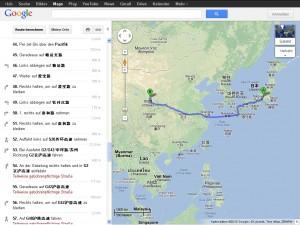 Bildschirm-Schnappschuss Route Japan—China