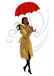 Frau in Regenmantel (Microsoft Clip Art)