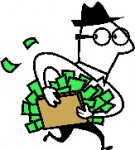 Mann mit offenem Geldkoffer