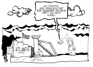 Karikatur zum Vergleich mit der Weimarer Republik (Autor: Kostas Koufogiorgos)