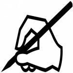 Silhuette einer Hand mit Stift