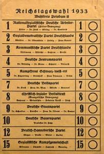 Stimmzettel zur Reichstagswahl 1933