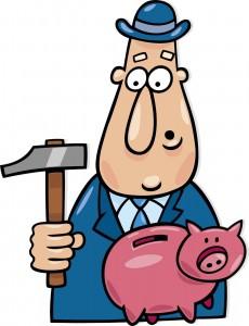 Geschäftsmann mit Hammer und Sparschwein