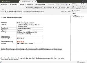 Bildschirm-Schnappschuss E-Mail-Anfrage