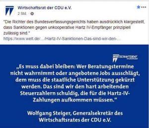 Facebook-Post CDU-Wirtschaftsrat